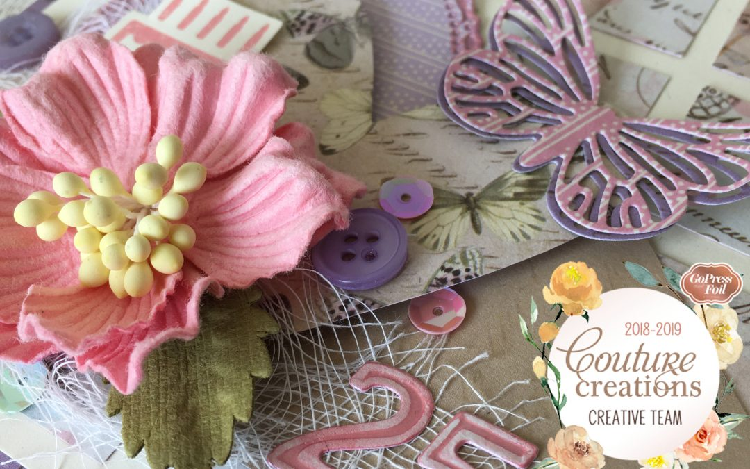 Couture Creations DT Reveal | Butterfly Garden Inchie Card